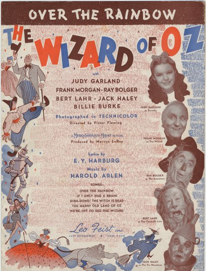 sheet music cover with images of Wizard of Oz characters faces and cartoon scenes from the movie
