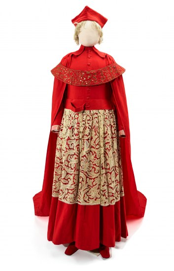 bbf710fe337483 An elaborate outfit comprising a crimson robe with matching skirt with gold  lace overlay. There