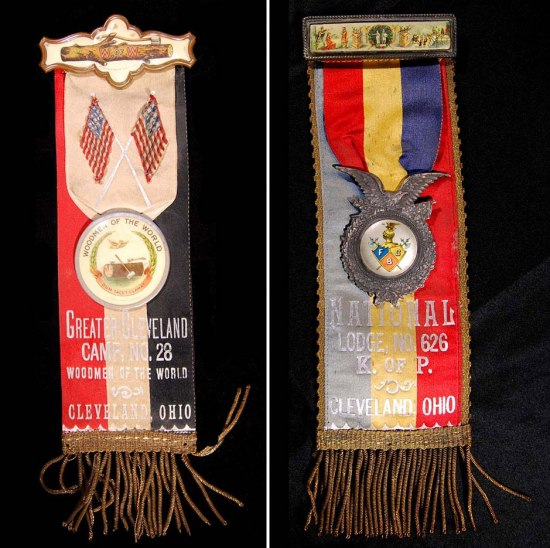 Photos of two badges with ribbons/strings on bottom and red, white, and blue imagery