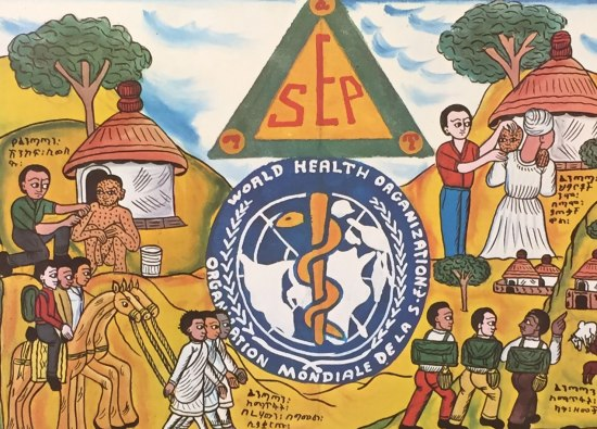 Colorful cartoon poster showing scene with horses, men with backpacks, woman with child, and general village scene. One man sits on ground with dots all over his body, attended to by doctor. World Health Organization logo in center. Doctor attends to baby in mom's arms. Colors are bright yellow, terra cotta orange.