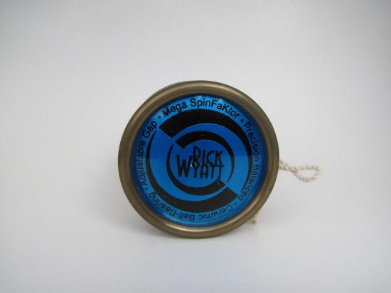 Blue yo-yo with black swirls