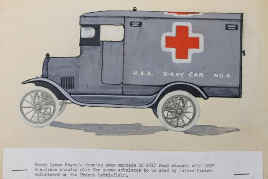 Drawing of a vehicle with a red cross logo