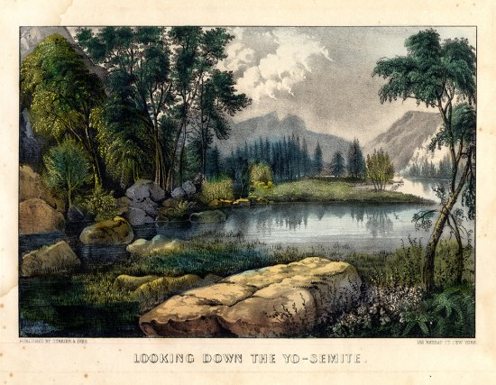 Image of a nature scene with mountains in the background, rocks and a stream in foreground, and trees. Misty, cloud, but slightly sunny.