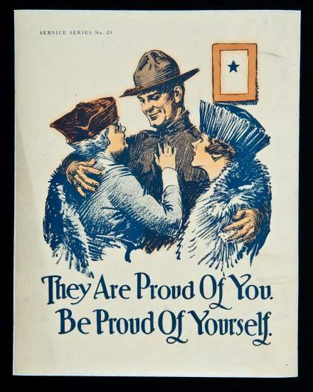 Poster with illustration of a smiling soldier in uniform hugging his mother and wife, who look up at him and smile