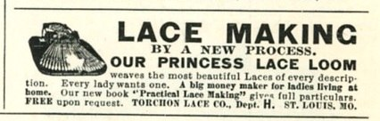 an ad from an old newspaper advertising lace making from the new princess lace loom