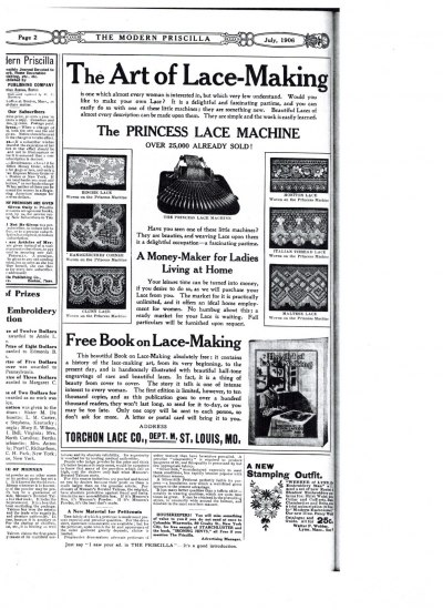 A full page ad from an old newspaper for lace-making