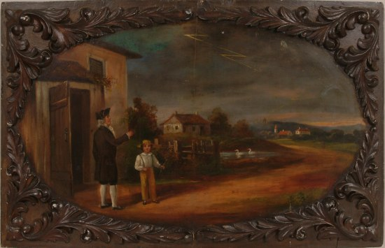 Painting in wooden frame with flourishes. In an outdoor scene, a man holds string of a kite while a young boy watches.