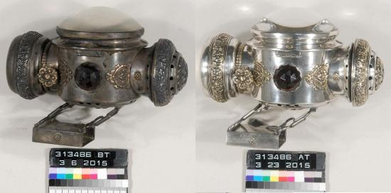 The bicycle lamp before (left) and after (right) conservation