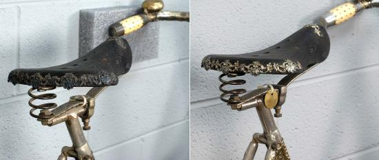 The bicycle seat before (left) and after (right) conservation treatment