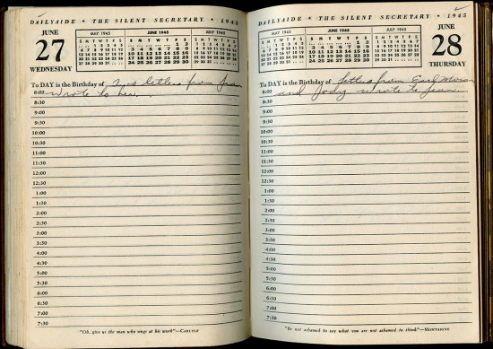 Two pages of a diary. There are calendars at the top of each page and the date in each top corner. It is lined with one line for every hour. The soldier writes about receiving letters in cursive.