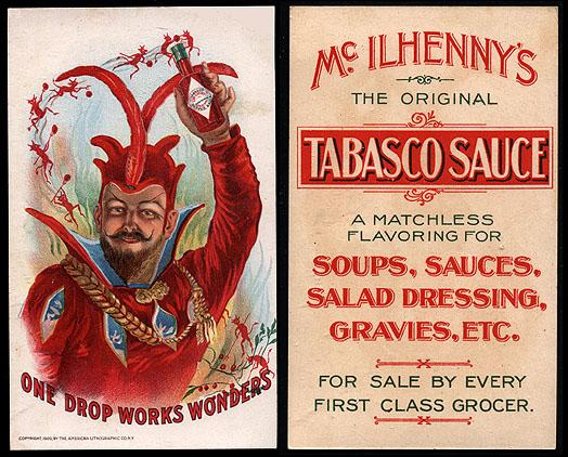 Victorian trading card advertising Tabasco sauce, 1900