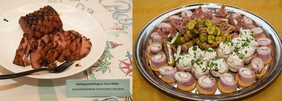 Left: Bologna with grill marks. Right: Deli meats in different shapes, on a platter.