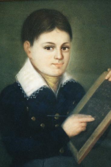 Photo of pastel image of young boy with brown hair and eyes in white collared top holding slate
