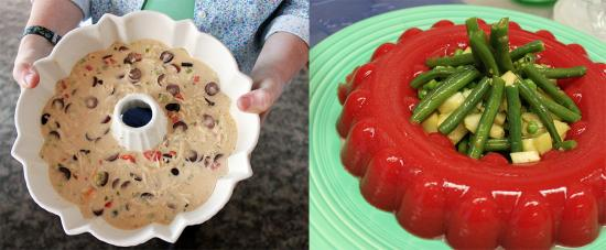 A chicken salad mold and a tomato aspic