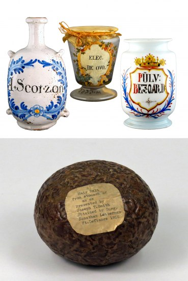 Four objects: three are wide jars with painted decoration with words in a different language, the fourth is a separate photo in which there is a round brownish ball resembling the texture of an avocado. It has a small brown piece of paper affixed to it