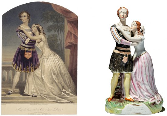 On the left is a color print of a woman in a man's costume with a seated woman in a white dress clinging to her. They are on a balcony with trees and a view of the sunset behind them.
