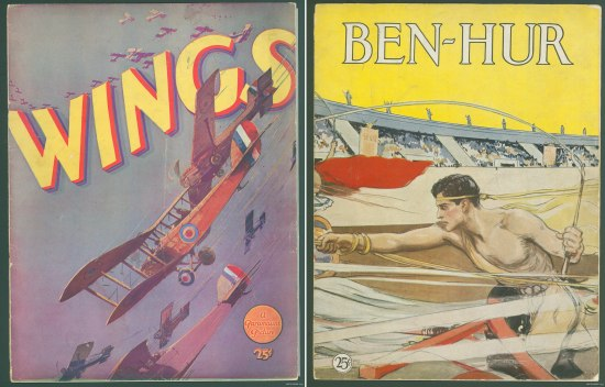 Two illustrations next to each other. The left is a number of red biplanes against a blue background flying with the title in yellow. The right is a man in a chariot in a stadium with a yellow sky.