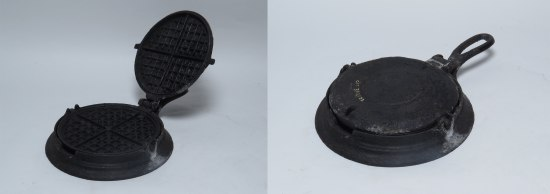 Side by side photos of a black object. On the left, part of it is lifted on a hinge to reveal a circular pan divided into four with square lattice-like patterns on both sides. The right image is of the circular object with its lid down.