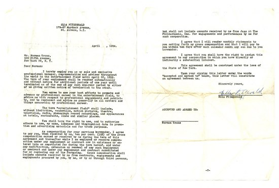 Two copies of a cntract. The paper is slightly yellowed and the contract looks like it was done with a typewriter.