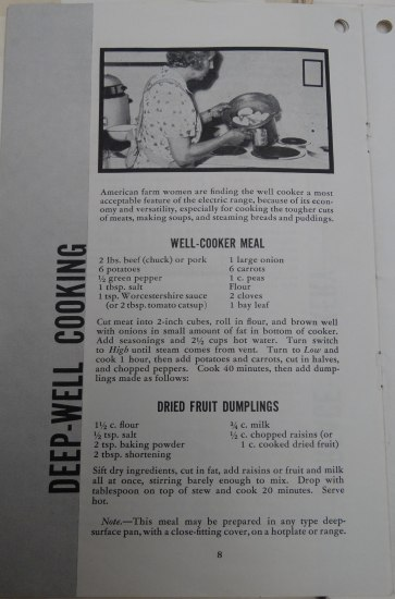 Black and white page from a recipe book. A photo of a woman working at the stove. In her pan, eggs or other ingredients. Two recipes on this page.