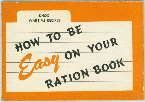"Photo of cover of ""How to be Easy on Your Ration Book,"" which has an orange border and bold lettering"