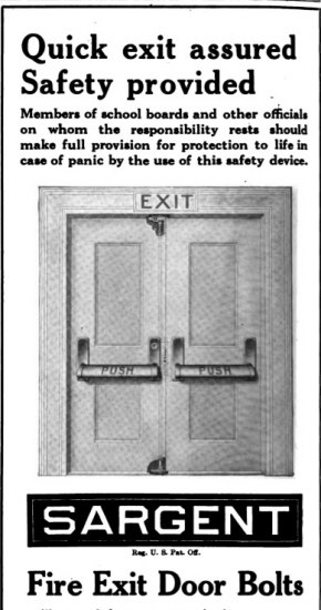 A black and white advertisement for Sargent Fire Exit Door Bolts. There is an illustration of a pair of doors with the push handles and an exit sign overhead. Above the illustration on the page is text selling the product.