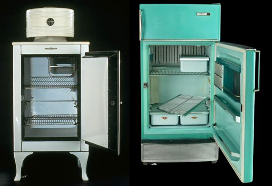 1930s refrigerator and 1960s refrigerator