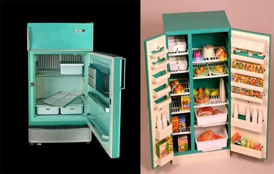 Two juxtaposed photographs. On the left is a teal fridge with its door open. You can see several drawers that appear to slide in and out and a few racks. On the right, there is a toy fridge of a similar color. Its doors are opened to show lots of colorful foods linking its shelves and sitting in a number of shelves and baskets.
