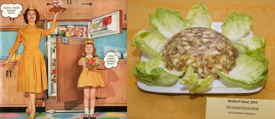 Left: Ad showing a mother and daughter wearing crowns in front of a refrigerator. Right: Gelatin salad on a bed of lettuce.