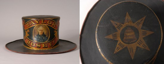 Two images; Left, a fire hat with elaborate designs. Right, the top of the hat decorated with a compass rose.