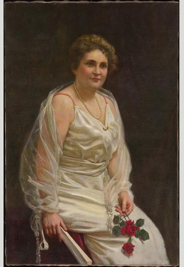Painting of woman in white holding red flowers