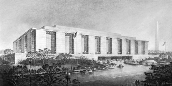 Black and white sketch showing rectangular building with large columns surrounded by trees and streets. Flag pole in front.
