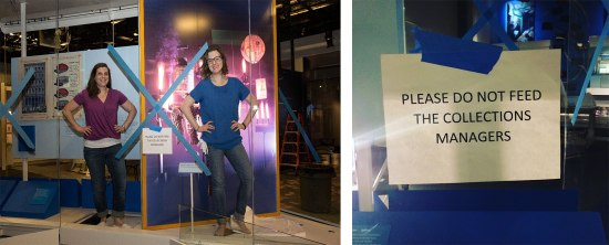 Two women stand with their hands on their hips in a glass case with colorful backgrounds. In the right image is a white piece of paper taped to glass.