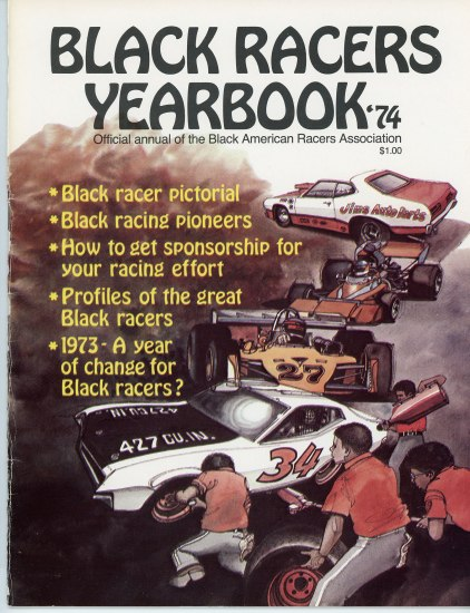 "The cover to ""Black Racers Yearbook"" It has text in yellow and an illustration of men fixing up a car in the forefront and more cars going back into the distance"