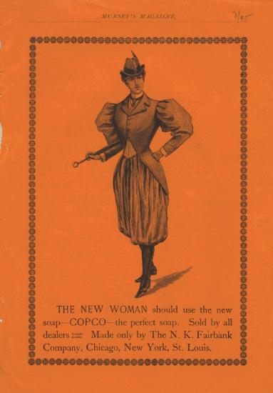 "Magazine advertisement - ""THE NEW WOMAN should use the new soap - COPCO - the perfect soap...."" with illustration of woman in bloomers (?) on orange background."