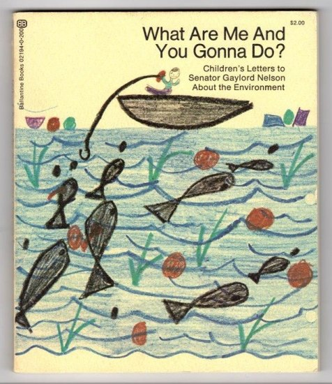 Book cover with crayon child's drawing showing a person in a boat fishing and a few fish swimming around.