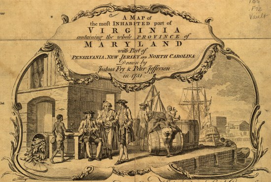 There is an illustration on a piece of old paper. It is of a harbor. There are ships and a group of people on the dock talking to each other. There is text in a bubble above and the illustration is within some sort of decorative border with laurel leaves accents