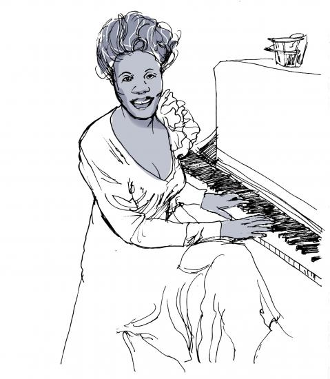 Outline sketch of woman in a dress seated in front of a piano