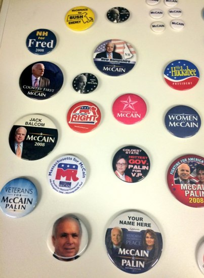 political campaign pins on a table in relation to Republican candidates such as John McCain and Sarah Palin and their 2008 run for the White House