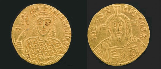 Two sides of a gold coin. On one side is a man with a hat and patterned shirt and on the other side is Jesus