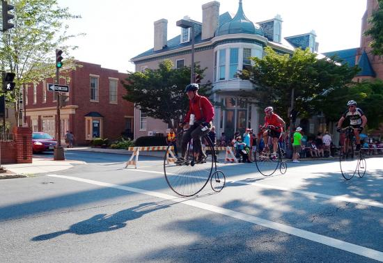 Riders on their high wheel bicycles in Frederick, Maryland
