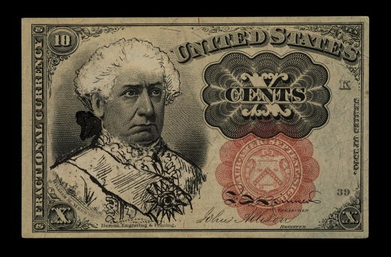 "A piece of paper currency that says it is from the US but does not look like anything we use today. There is a figure in fancy, centuries-old garb on the left side. The man has a dour-looking face. There are various seals, signatures, and details like ""Fractional Currency"" on it."