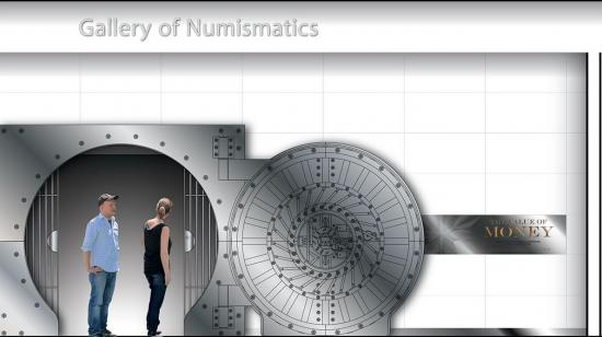 "Exhibition rendering for ""The Value of Money"" in the Gallery of Numismatics"