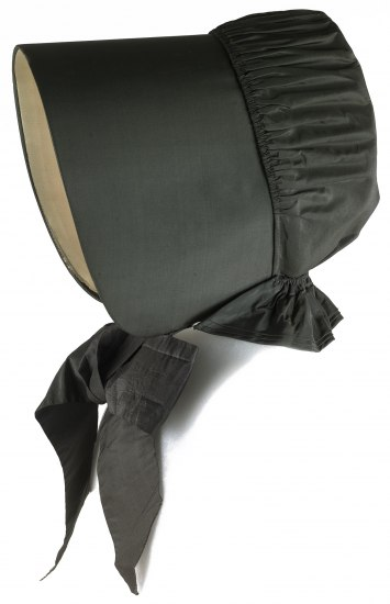 A gray bonnet. with ribbons