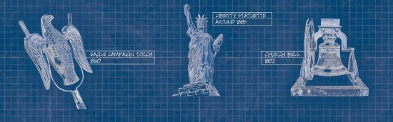 On a deep blue background with grids like technical drawing paper, An eagle on a pair of prongs, the Statue of Liberty, and an old bell are drawn in white with their names and years written beside them.