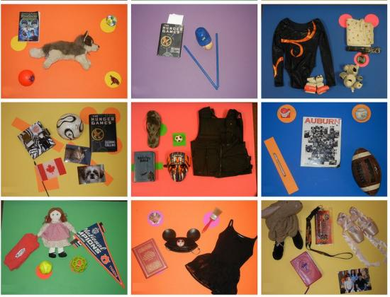 Nine object portraits by students, containing books, ballet shoes, dolls, balls, flags, and more