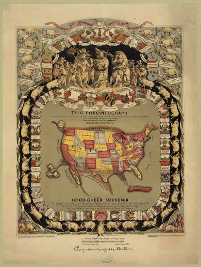 An illustration of the U.S. surrounded by many pigs prancing in a square formation. There are shields with crests and small banners throughout the picture.