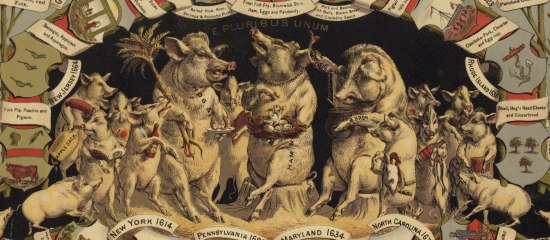An images of pigs sitting on stumps and gathering around. There are various banners surrounding them.