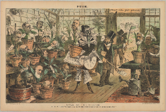 Cartoon image with many people holding plants in pots
