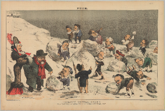 Cartoon featuring people rolling snowballs